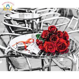 foto di fiori rosa neri Sconti nero bianco rosa rossa pittura fiori immagini dai numeri su tela dipinti murali nordici per soggiorno home decor W6755