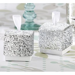 Wholesale silver boxes for wedding favors - NEW Wedding Party Favors And Gifts Wedding Favor Chocolate Candy Gift Boxes Party Silver Gold Glitter Favor Box For Guest 12pcs