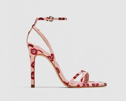 Wholesale lips sandals - Sandal Girl 2018 Summer New European and American Red Lips Printed Fashion High Heels