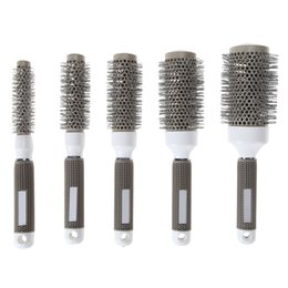 Круглые гребни для волос онлайн-5 Sizes Gray Ceramic Ionic Comb High Temperature Resistant Round Combs Iron Radial Brushes Curly Hairbrush Hair Salon Tool