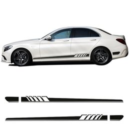 2019 camuflagem Edição 1 AMG Side Racing Stripe Decalque Adesivos para Mercedes Benz W205 C200 C63 AMG C Classe C Amarelo / Silvergrey / Branco / Preto