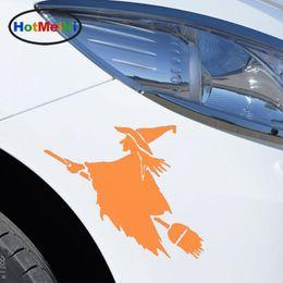2019 conto de fadas adesivos HotMeiNi Car Sticker Interessante Personagens de Conto de Fadas Bruxa em Voando Vassoura Engraçado SUV Janela Bumper Laptop Decal 14 x 12 cm conto de fadas adesivos barato