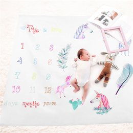 Wholesale rug cartoon - Photography Prop Blanket Newborn Children Photograph Rug Growth Record Print Playmats For Girls Boys Fashion Mileage Carpets 19fdb jj