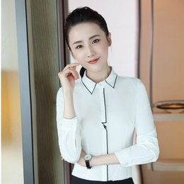 Wholesale Formal Wear Uniforms - New Styles Formal OL Styles Women Business Work Wear Blouses & Shirts For Ladies Office Female Tops Clothes Uniforms Plus Size
