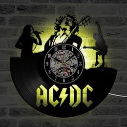 Wholesale Rock Music Decor - Wall Clock Rock Band CD Record LED Clock Modern Timepiece Music Lover Home Decor Creative and Antique Style Hanging Clock