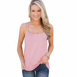 Maglia chiffona navy online-VBTyBL 2018 nuovo Summer Hot Retro Style blu scuro e bianco Stripes piccola Harness senza maniche in chiffon Shirt Vest colletto allentato Vest