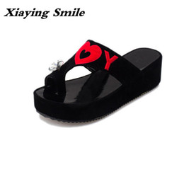 Wholesale Crystal Bond Adhesive - Xiaying Smile Summer Woman Slippers Sandals Fashion Creeper Slides Platform Crystal I Love You Pattern Heart Shape Women Shoes