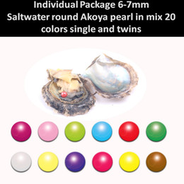 """Wholesale Pearl Oyster Set - """"50PCS Single and Twins set"""" Akoya Pearl Oyster with AAA Grade 6-7 mm Round Mix 20 Colors Freshwater Individual Packing Party Kid Gift"""
