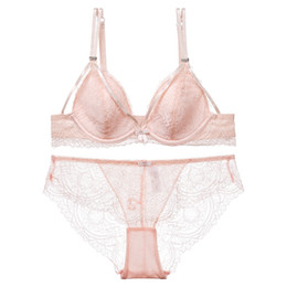New arrive sexy deep v thin cup sexy style comfort lace women underwear and panty  ladies hollow out push up small bra set sexy new bra panty promotion da9d71af9
