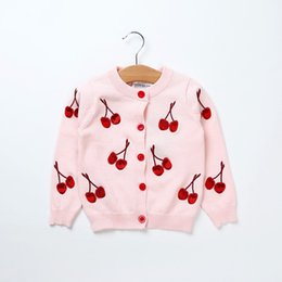 Wholesale cherries coat - Girls Jacket Fashion Cherry Knitting Baby Girl Coat 2018 Autumn Spring Kids Long sleeve Outerwear Clothes