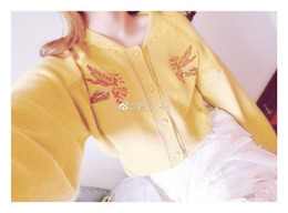 crew hair Australia - Autumn And Winter Embroidery Flower Spelling Skin Design Hubble-bubble Sleeve Knitting Cardigan Rabbit's Hair Sweater woman shoulder tops