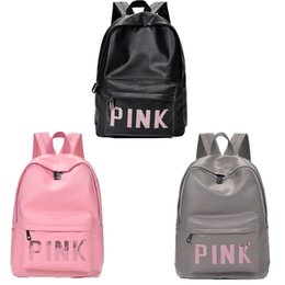 Wholesale waterproof business backpack - Pink Sequins Backpack Pink Letter PU Backpacks Waterproof Travel Bags Teenager School Bags 3 Colors DHL free shipping