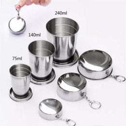 Wholesale Tool Kits For Survival - Stainless Steel Folding Cup Travel Tool Kit Survival Gear Outdoor Sports Mug Portable for Camping Hiking Sport 0100