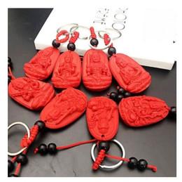 Colgante de llavero de cinabrio rojo ocho dioses guardianes joyería pequeña hombres y mujeres de la llave colgante de Buda desde fabricantes