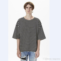 top moda urbana Sconti Magliette oversize a righe oversize in cotone t-shirt oversize a strisce per uomo hip-hop di moda maschile Justin Bieber