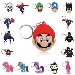 Wholesale Mario Key - Wholesale Avenger Mario Trolls Super Hero High Quality Bright Color Cartoon PVC Keychain Key Ring Bag Cute Accessory Kawaii Party Favor