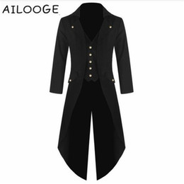 ciabatte Sconti New Mens Tuxedo Coat Steampunk Vintage Fracotto Giacca Gothic Frock Coat Top Tuta a vento Diserbo X-Long Outwear