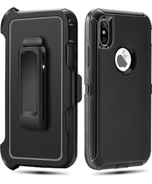 Wholesale Heavy Metal Belts - For iPhone X 5.8 inch Defender covers shockproof dual layer metal case cover Heavy Duty Armor Dustproof Cell Phone Cases Belt Clip Black