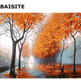 Wholesale Modern Abstract Acrylic Painting - BAISITE DIY Acrylic Painting By Numbers Hand Painted Canvas Modern Wall Picture For Living Room Home Decor Wall Art 8042