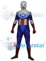 Wholesale full captain america costume - 3D Printed Falcon Captain America Costume Superhero Costume Lycra Spandex Spiderman Suit Halloween Party Cosplay Zentai Suit 154867