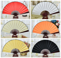 Wholesale Bamboo Fabric China - Blank 6 Color Personalized Silk Fans for Weddings Large Bamboo Chinese Folding Fan Decoration Adult DIY Fine Art Painting Programs 50pcs