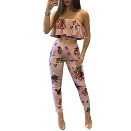 Wholesale Floral Strapless Jumpsuit - Off Shoulder Sexy Floral Print Jumpsuits Two Piece Backless Club Rompers Womens Jumpsuit Strapless Full Bodysuit Summer Overalls