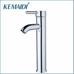 Wholesale Tall Sink Faucets - KEMAIDI Slim New Bathroom Glass Deck Mount Slim Tall Basin Sink Polished Chrome Single Handle Vessel Torneira Mixer Tap Faucets