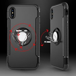 Wholesale Magnet Phone Cases - Luxury PC+TPU Metal Magnet Case For iPhone X Cover Silicone Case For iPhone X Case Cover Protection Coque With Phone Holder