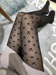 Calcetines de encaje para damas online-VV ** 2018 carta logo mujer medias Negro Pantimedias delgado jacquard mameluco medias de seda mujer verano sexy Leggings señoras calcetines de encaje