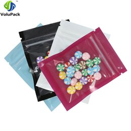 Canada 6.5x9cm (2.5x3.5in) Petite taille refermable plat Emballage Pouches Bleu Blanc Violet mylar Noir Zip verrouillage Emballage Sacs 100pcs / lot Offre