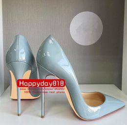 Livraison gratuite mode femmes pompes bleu gris en cuir verni bout des orteils hauts talons chaussures de talon en cuir véritable 120mm 100mm vraie photo ? partir de fabricateur