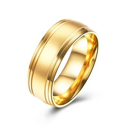 Wholesale Wedding Bands Trends - Simple and trendy gold color trend titanium steel ring