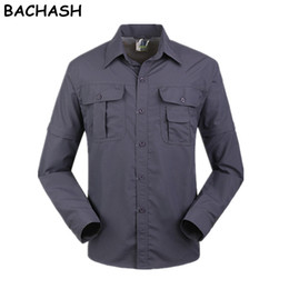 removable collar shirt Promo Codes - BACHASH 2017 Men Summer Quick Dry Shirt Removable Breathable Shirt Male Shirts For Work UV Protection Solid Spring Autumn