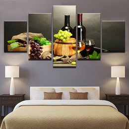 Wholesale canvas paintings wine glasses - Modern Home Decor Wall Art Modular Pictures 5 Panel Grape Red Wine Glass Living Room Canvas Painting Frame HD Print Poster