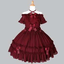 traje gótico vermelho preto Desconto Alta Qualidade 2018 Red and Black Slash Pescoço Arco Gothic Lolita Vestido Trajes Para As Mulheres Personalizado