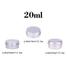 Wholesale Glass Jars Wood - Durable 20ml Empty Aluminum Cream Jars Tins Cosmetic Lip Balm Containers Nail Derocation Cans Crafts Storage Pots Bottles