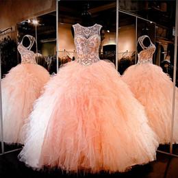 Canada Bijou manches de pêche robe de bal cristal perlé longueur de plancher creux sur mesure robe de soirée robes de soirée Offre