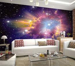 Wholesale Chinese Living Room Decor - Custom Mural 3D-room-wallpaper European Style Galaxy Cloud Wall Mural Fluorescent Wallpaper Living Room Sofa Backdrop Home Decor