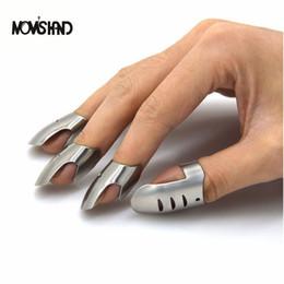 Wholesale Metal Finger Guard Protector - Moms Hand 4pcs  Set Adjustable Stainless Steel Finger Hand Guard Finger Protector Knife Slice Chop Safe Slice Cooking Tools