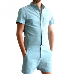 Wholesale Overalls Short Sleeve - Summer Short Sleeve Mens Rompers Boyfriend Blue Trousers Party Overalls Male Single Breasted Causal Cargo Short Pants