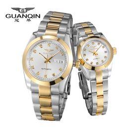 Guanqin orologi al quarzo online-I nuovi amanti del lusso orologio originale GUANQIN Top coppia Orologi da polso al quarzo Moda Uomo da polso impermeabile