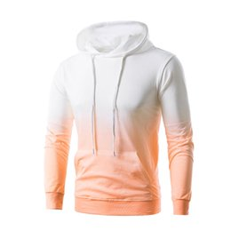 Wholesale Couple Outfit Clothing - HOT 2018 Outdoor Spring summer outfit gradient Jogging hooded fleece men coat couple joker long-sleeve clothes plus size 5XL