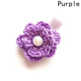 Wholesale hair clip backings wholesale - Adorable Crochet Flower Hair Clips Back to School Gift Pink Flower Girl Barrette Frosted Grey Floral Hairpin Red Grips