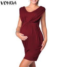 e574ef326820e VONDA Women Mini Bodycon Dress 2018 Summer Pregnant V Neck Sleeveless  Casual Solid Dresses Maternity Plus Size Vestidos 5XL