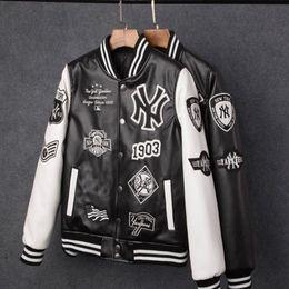 Camisolas pu on-line-Casacos de homens Quentes Marca Caual Homens pu casaco de Moda Hip Hop beisebol bordados NY jaqueta Moletons