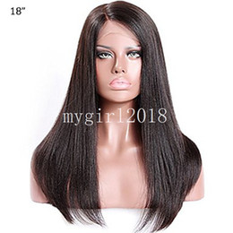 Wholesale Lace Front Heat Friendly Wigs - Yaki Natural Looking Kinky Straight Synthetic Wig Heat Friendly High Quality Italian Yaki Lace Front Synthetic Wigs For Black Women