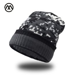 Wholesale fish beanies - Thicken Fleece Lining army Camouflage Hat for Men Hunting CS Winter hat Warm Beanies Knit Camo Ski Hats Winter climbing fishing