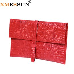 leather bags dropshipping Promo Codes - XMESSUN Envelope Clutch Genuine Leather Leather Alligator Texture Wallet Women Shoulder Bag Messenger Bag 2018 Dropshipping F108