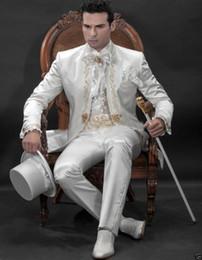 smoking de marfim de ouro Desconto Clássico Marfim Ouro Bordado Ternos Dos Homens Gola Ternos De Casamento Para Homens Smoking Slim Fit Um Buon (jaqueta + calça)