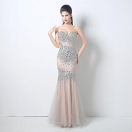 rhinestones largos del vestido del amor Rebajas 2018 cristales de tul cariño vestidos de noche Rhinestones nupcial del desfile de invitados vestido formal del partido vestidos cremallera espalda vestidos de baile de largo